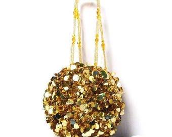 Dazzling Gold Sequin Paillete Disc Round Beaded Evening Pouch Case Handbag