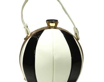 Black And White Beach Ball Top Handle Frame Shoulder Handbag