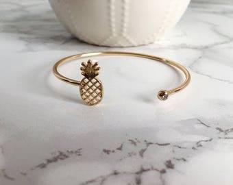 Pineapple Cuff Bracelet, Pineapple Bracelet, Gold Pineapple Bracelet, Summer Pineapple Bracelet, Bridesmaid Gift