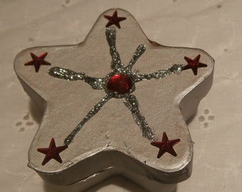 silver star box, star opens, decorated star with glitter and jewels, gift box, special jewelry box ,treasure box, keepsake decorated star