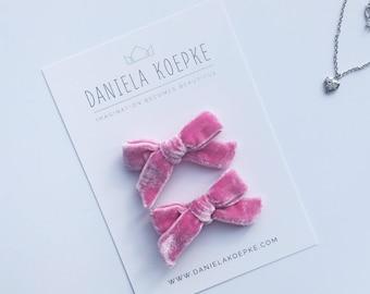 Pigtail Bows  - Pink Velvet Bow - Baby Bows - Velvet Hair Bow - Pink Velvet Bows Baby  - Hand Tied Bow - Pigtails -Valentine Hair Bows -