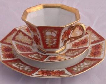 Vintage Tirschenreuth trio, porcelain trio, Vintage trio, teacup trio, home and living, collectible trio, home decor, Bavarian china