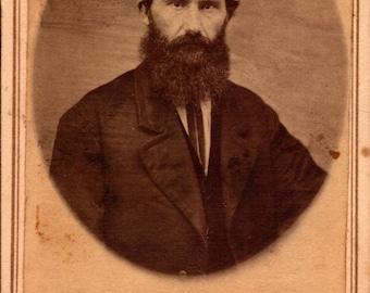 carte de visite antique photo of bearded man