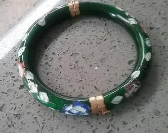 Vintage Asian Cloisonne Bracelet - Green with Multi-color Flowers