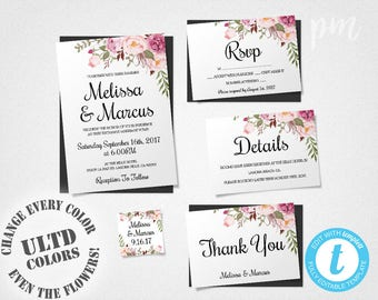 Wedding Invitation Template Set, Floral Boho Wedding Invite, Printable Invitation, Easy to Edit, Bohemian Wedding