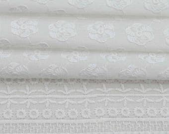 "Designer Handcrafted Fabric, Chikan Embroidery, White Fabric, Sewing Crafts, 42"" Inch Cotton Fabric By The Yard ZBC8070A"