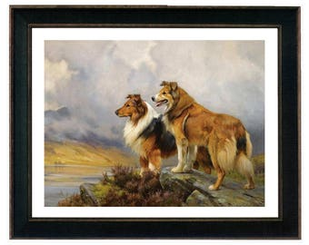 Collies in a Highland Landscape Art Print by Wright Barker, Framed, Border Collie, Dog Art Prints, Framed Animal Art, Two Dogs Over Lake