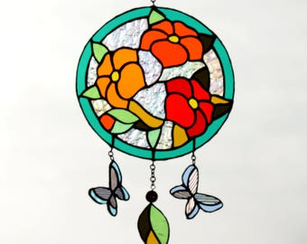 Stained Glass Sun catcher Flowers & Butterflies. Tiffany stained glass window pendant. Handmade wall hanging. Glass dream catcher. Glass Art
