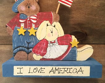 Labor Day Home Decor - Labor Day Sign - Patriotic Home Decor - Bunny and Bear Patriotic - American Flag Decor - Red White and Blue Decor