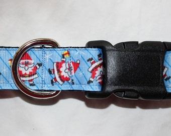 "1"" Playful Santa Dog Collar - Side Release Buckle"