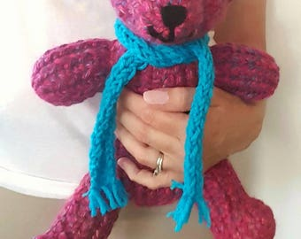 Fuchsia Pink Knitted Teddy Bear with hand-sewn features