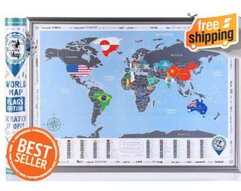 "World Map with Scratch off, Flags Edition. Premium Quality Paper. Size 27""x19"". Silver Map with Scratch off. Awesome Gift for Travellers."