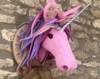 Handmade unicorn head faux taxidermy Harris tweed pink with wool felt mane wall mounted animal trophy decoration