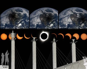 Kansas City Eclipse Commemorative Composite Original Photography including NASA Earth Views of Eclipse Shadows over KC Sky Stations