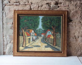 French Vintage Oil Painting, Summer Street Scene, by Ramponi