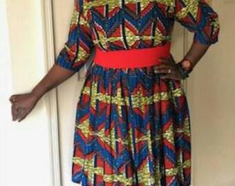African Print, Ankara Print Gathered Dress