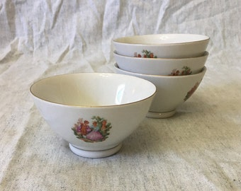 Vintage TP Porcelain Courting Couple Rice Bowls with Gold Trim, Set of 4