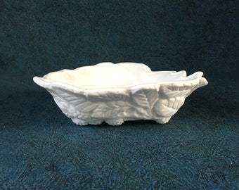 Vintage Indiana Milk Glass Triangular Loganberry Mint Dish, Candy Dish, Depression Glass Bon Bon Dish