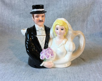Vintage Fitz and Floyd Omnibus Bride and Groom Teapot, Personaliteas Toby Teapot