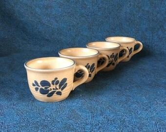 Vintage Pfaltzgraff Folk Art Coffee Cups, Set of 4