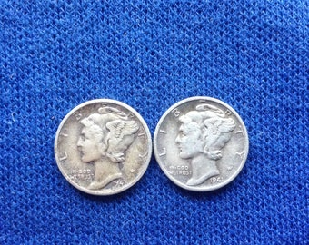 1941 D  Mercury Dime, Winged Liberty Old US Coin, Collecting Coins, 90% Silver Dimes
