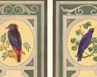 1914 Antique DECORATIVE ARTS Bird Art Nouveau Ornamental Wall Panels Lithograph