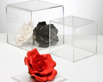 Clear 5 Sided Display Cubes | Acrylic Cube Containers | 5 Faced Perspex Cubes | Manufactured in the UK
