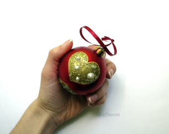 Romantic gift Christmas tree charm Christmas decor Tree decor Gold red christmas Winter christmas ball Holiday decorations Holiday