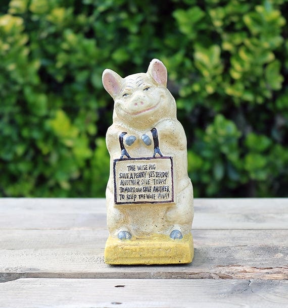 Cast Iron Piggy Bank-Collectible Piggy Bank-Vintage Bank-Antique Bank-Thrifty Bank-The wise piggy bank-Antique Piggy Bank-Vintage Piggy Bank