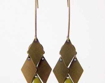 Cluster diamond earrings khaki green and bronze