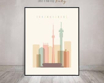 Johannesburg print, Poster, Wall art, South Africa, Johannesburg skyline, City print, Travel poster, Home decor, Gift, ArtPrintsVicky