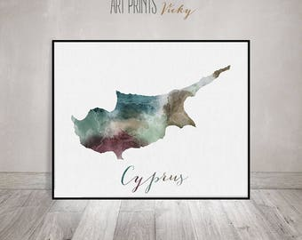Cyprus watercolor map art, Cyprus art poster, print, wall art, Cyprus map poster, Cyprus painting, Travel gift, Office decor, ArtPrintsVicky