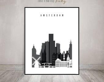 Amsterdam wall art print, Poster, Travel decor, Wall art, black and white, Skyline art, travel gift, Home Decor, wall decor, ArtPrintsVicky