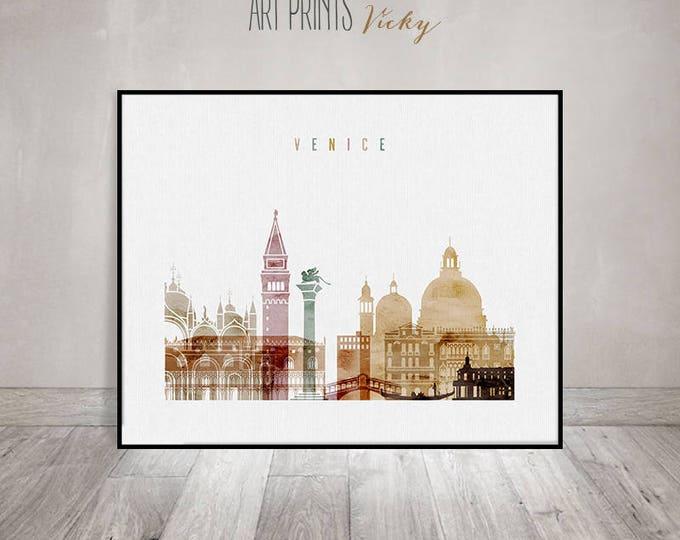Venice art print, watercolor Poster, Wall art, Venice skyline, Italy, City prints, Travel gift, Typography art, Home Decor, ArtPrintsVicky