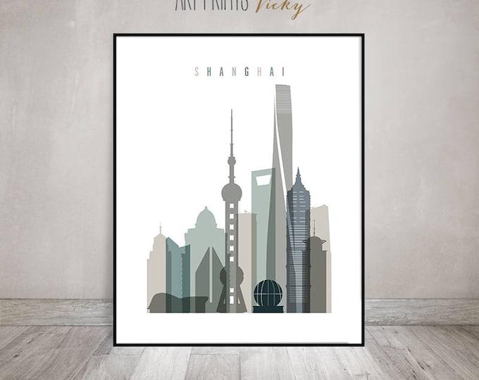 Shanghai wall art, Shanghai print, Travel poster, Shanghai skyline, Travel gift, housewarming gift, Home Decor, Travel decor, ArtPrintsVicky