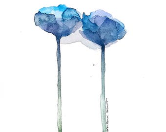 Blue poppies painting, original watercolor blue poppy art, modern blue floral watercolor, 9 x 12 with 11 x 14 mat, poppy wall art painting