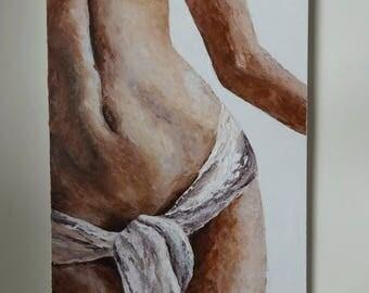 Modern Nude Painting Woman Erotic Art Textured Original Art Modern Painting on Canvas Female Nude Acrylic Painting