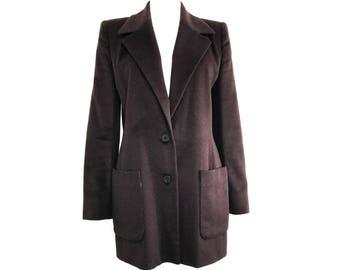 CELINE Vintage Brown Blazer Jacket with Logo Buttons FR 40 Coat Wool