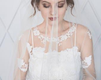Double tier elbow length bridal veil, drop veil, veil with blusher, ivory veil, white veil, bridal veil, wedding veil