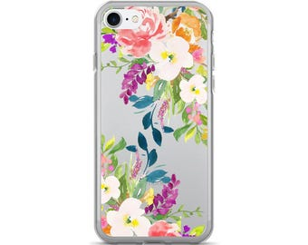 Floral iPhone 7 Case - Clear iPhone 7 Case - iPhone 6s Case Transparent iPhone 6 Case - iPhone x case - iPhone 8 Case - iPhone 6 Plus Case