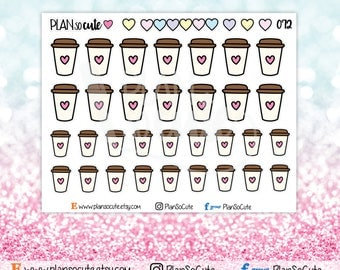 Doodle Coffee Stickers, Love Coffee Stickers, But first coffee, Planner Stickers -072