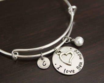 Hand Stamped Bangle Bracelet - I Love You More - I Love You More Bangle - Wife Gift - Special Person Gift - I/B