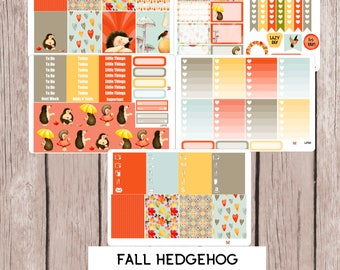 FALL HEDGEHOG Planner Stickers | perfect for Erin Condren Life Planner | L270