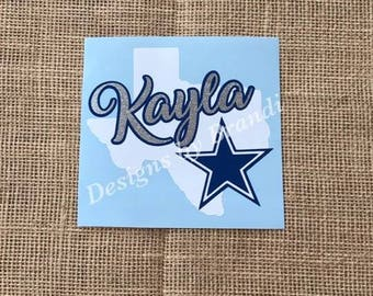 Personalized Dallas Cowboys decal // Texas Decal // Personalized Dallas Cowboys // Dallas Cowboys decal // Yeti Decal