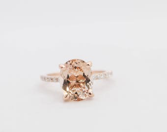 Oval Morganite Ring, Morganite Ring, Morganite Engagement Ring, Rose Gold Morganite Engagement Ring, Rose Gold Ring, Engagement Ring, Gold