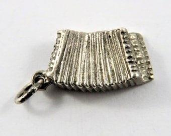 Accordion Sterling Silver Charm or Pendant.