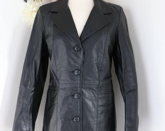 1980s Vintage Black Leather Coat - S/M - Mid Length Fall Coat - Leather Trench Coat - Classic Blazer Style Leather Jacket - Retro Hipster
