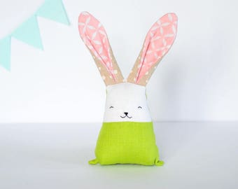 Linen rabbit, bunny toy, green pink toys, stuffed bunny, baby fabric teething toy, baby sensory toys, personalized toys, gift for new mom