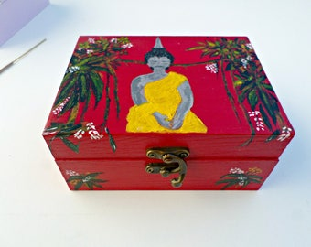 Buddha double compartment wooden jewelry box