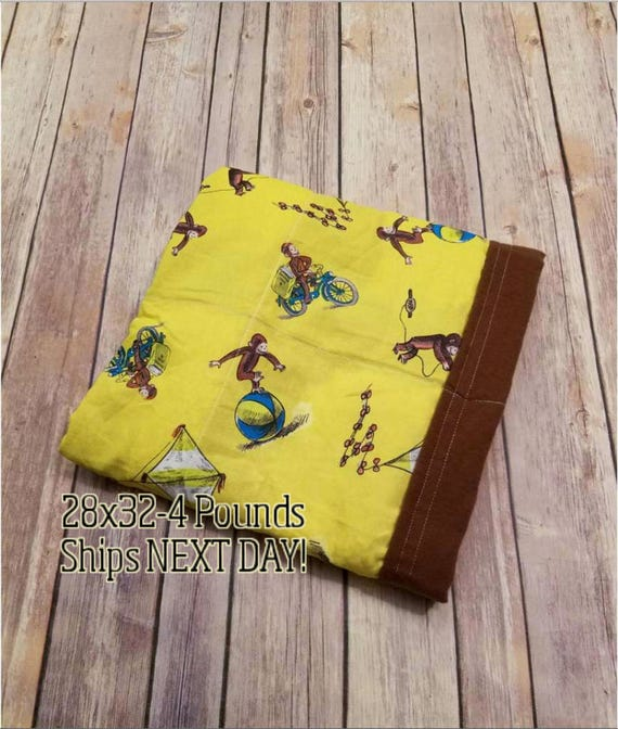 Monkey, 4 Pound, WEIGHTED BLANKET, Ready To Ship, 4 pounds, 28x32 for Autism, Sensory, ADHD, Calming, Anxiety,